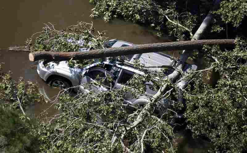 A vehicle is covered by trees on a flooded roadway in Southern Shores, N.C., on Sunday after the hurricane swept through the area.