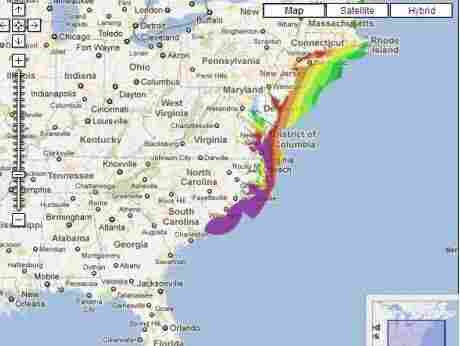 Areas in purple have a high likelihood of a storm surge that exceeds 2 feet.