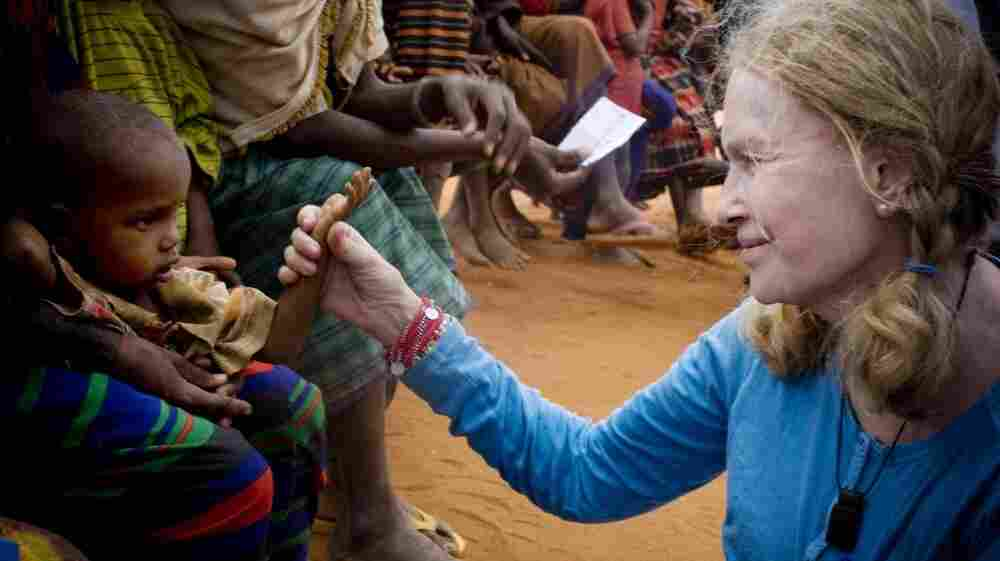 UNICEF Goodwill Ambassador Mia Farrow visits the Dadaab refugee settlement in  northern Kenya, where tens of thousands of Somali refugee families have fled — escaping conflict, drought  and famine back home.