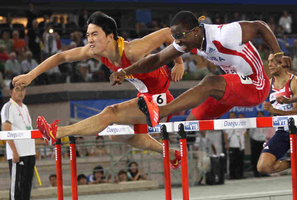 China's Liu Xiang and Cuba's Dayron Robles compete in the men's 110 meter hurdles final at the International Association of Athletics Federations (IAAF) World Championships in Daegu.