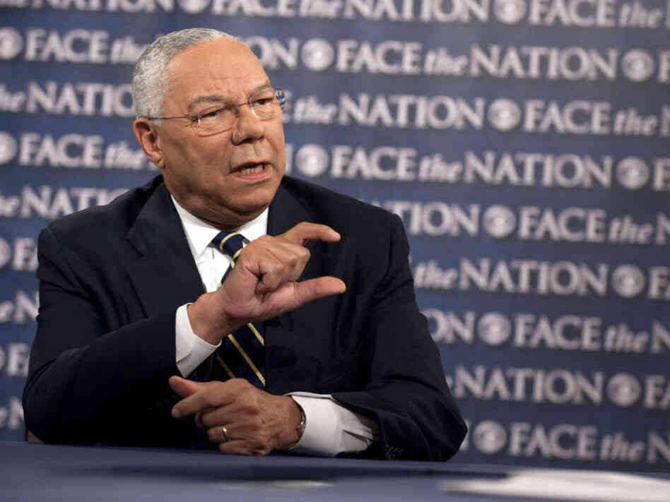 Former Secretary of State Colin Powell during his appearance Sunday on CBS News' Face the Nat