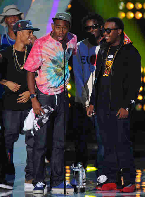 Tyler the Creator won the Best New Artist award. He was bleeped a few times during his acceptance speech, but didn't nearly take home the fictional Most Bleeped Award for the evening.