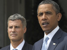 President Obama and economist Alan Krueger at the White House this morning (Aug. 29, 2011).