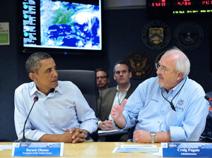 On Saturday, President Obama and FEMA administrator Craig Fugate attended a video teleconference led by FEMA as Irene made its way up the Eastern Seaboard.