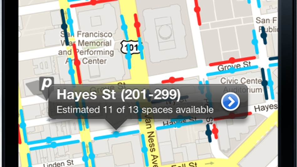 A screenshot of SF<em>park,</em> an app that lets San Francisco drivers see available parking spaces as well as each space's cost.