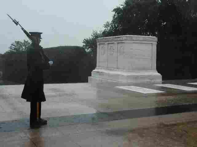 On guard during Irene at the Tomb of the Unknowns.