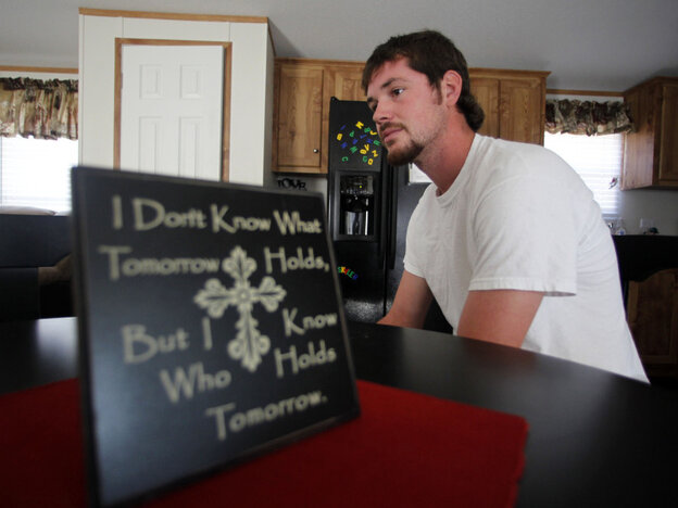 In this photo taken Aug. 17, 2011, Justin Barker, the student who was beaten by six black schoolmates in Jena, La., in 2006, speaks with The Associated Press at his home in Trout, La. Five years after the events that sparked the biggest civil rights march in recent history, life seems to be back to normal in this little central Louisiana town.