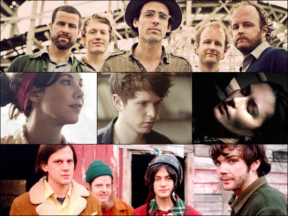 Clap Your Hands Say Yeah (top), Lisa Hannigan, James Blake, Jesse Sykes (middle row left to right), Neutral Milk Hotel (bottom).