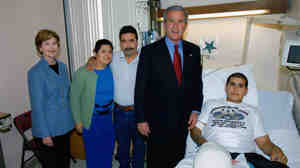 At Walter Reed, Oscar Olguin and his family were visited by President Bush and first lady Laura Bush. But Olguin says that when he left the hospital, he had to fend for himself.