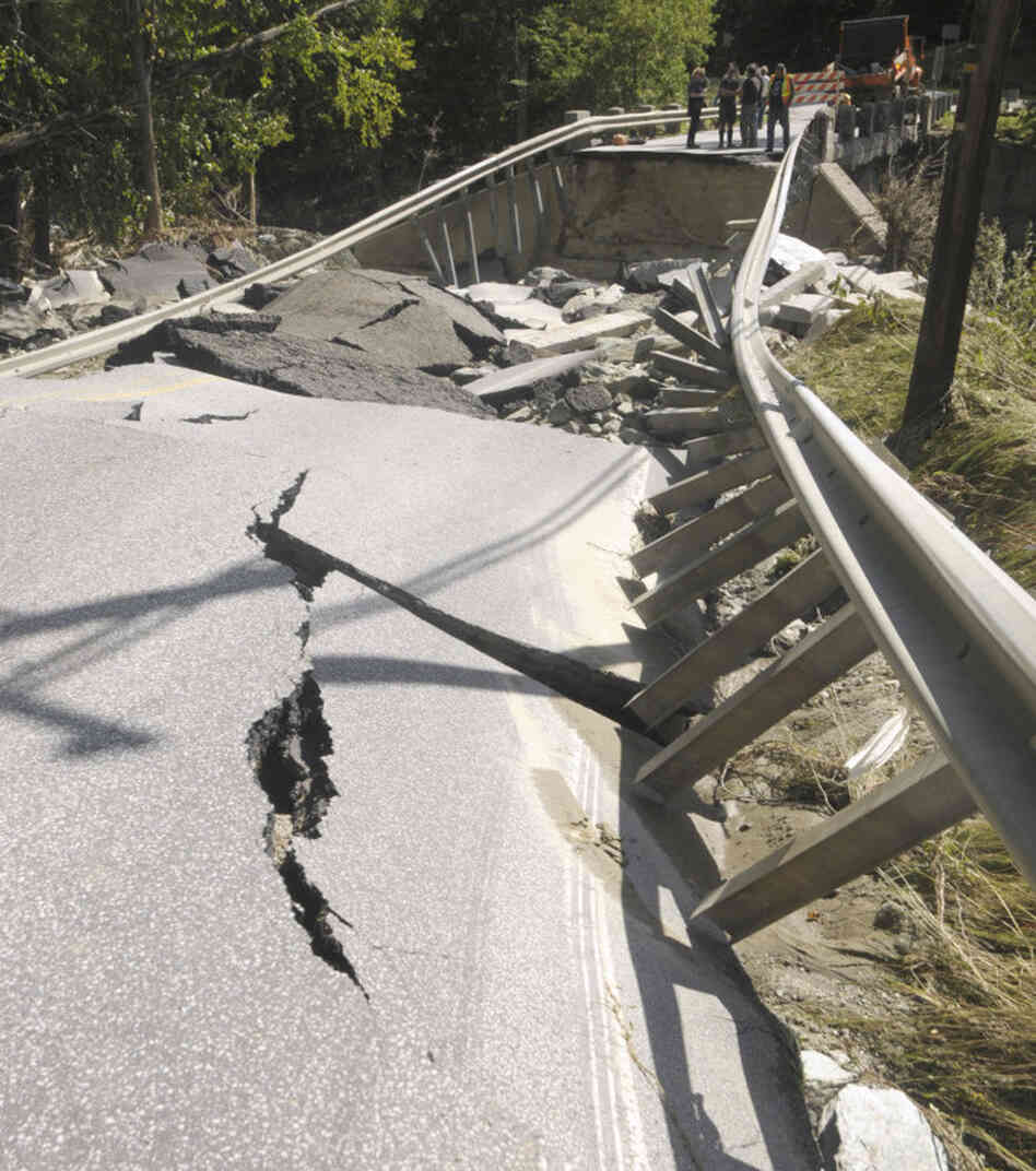 A washed-out bridge in Moretown, Vt.