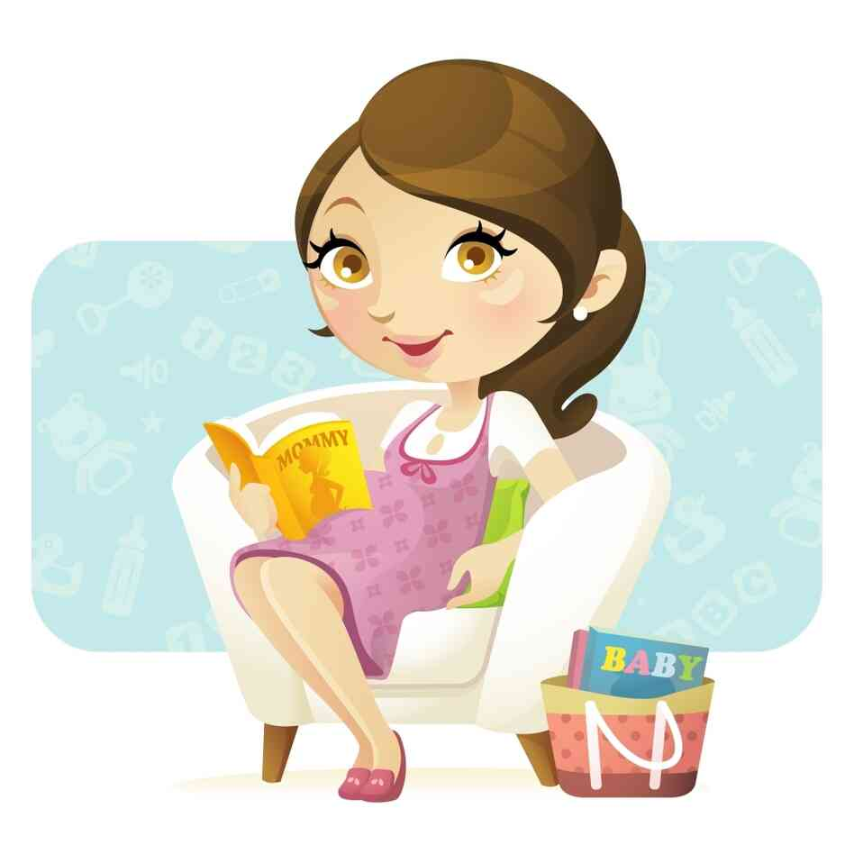 "An illustration of a woman holding a book that says ""Mommy"" on it."
