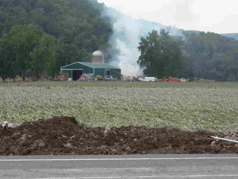 A barn near Barber's Farm caught fire after the bottom layers of hay got wet and heated up.