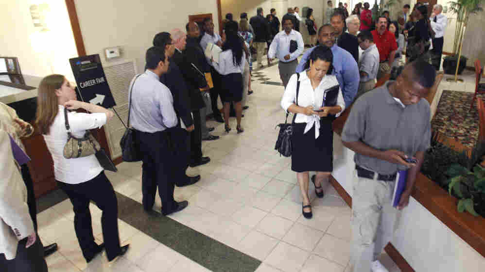 The long line of job seekers at a career fair earlier this month in Plano, Texas.