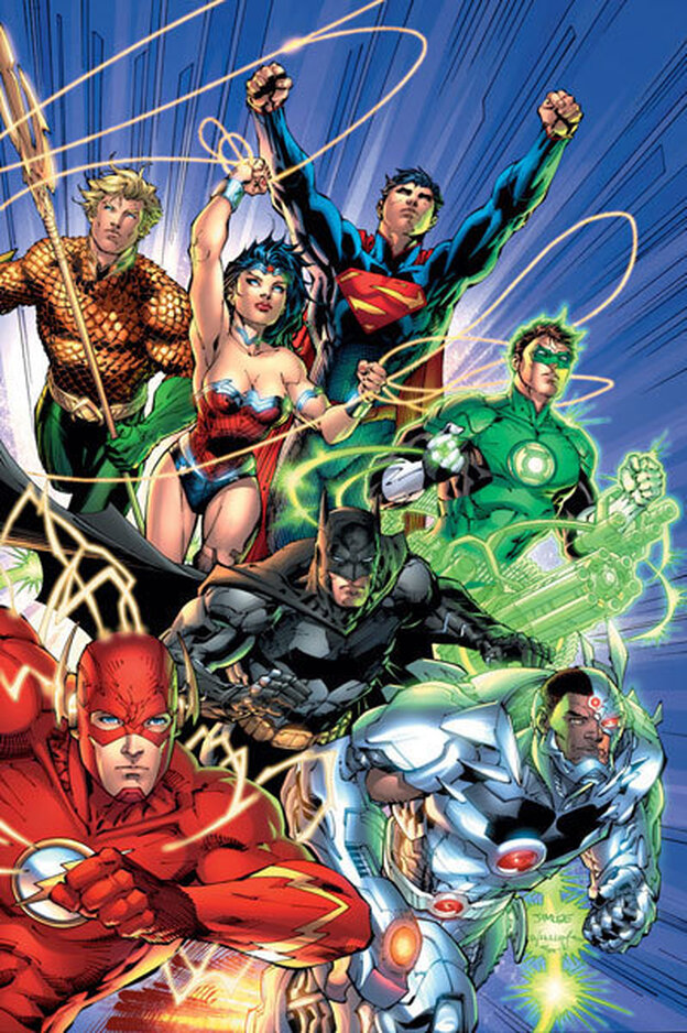 Cover of Justice League #1. The lark's on the wing, the snail's on the thorn; God's in his heaven, Wonder Woman has ditched the damn jeggings — All's right with the world!