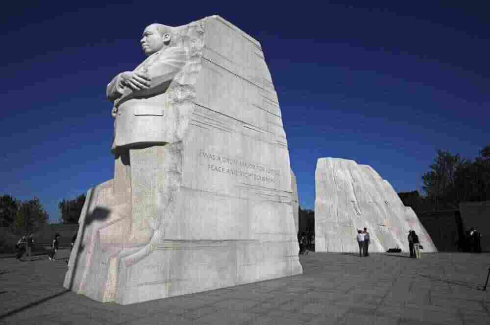 The statue of Dr. Martin Luther King, Jr. during the soft opening of the Martin Luther King, Jr. Memorial in Washington.