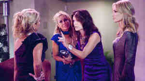 Kim RIchards, Adrienne Maloof, Lisa VanderPump, and Taylor Armstrong of The Real Housewives Of Beverly Hills, which is currently dealing with the aftermath of a participant's suicide.
