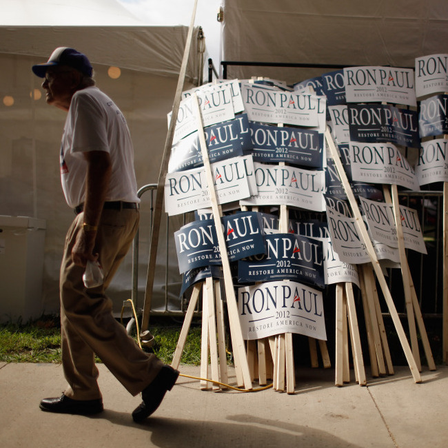 Signs for Republican presidential candidate Rep. Ron Paul of Texas are stacked outside the Hilton Coliseum, where the Iowa Straw Poll was held Aug. 13 in Ames, Iowa.