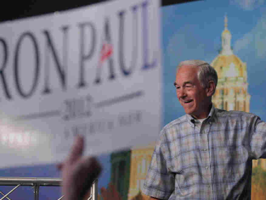 Republican presidential candidate and Texas congressman Ron Paul at Iowa State University in Ames on Aug. 13, 2011.