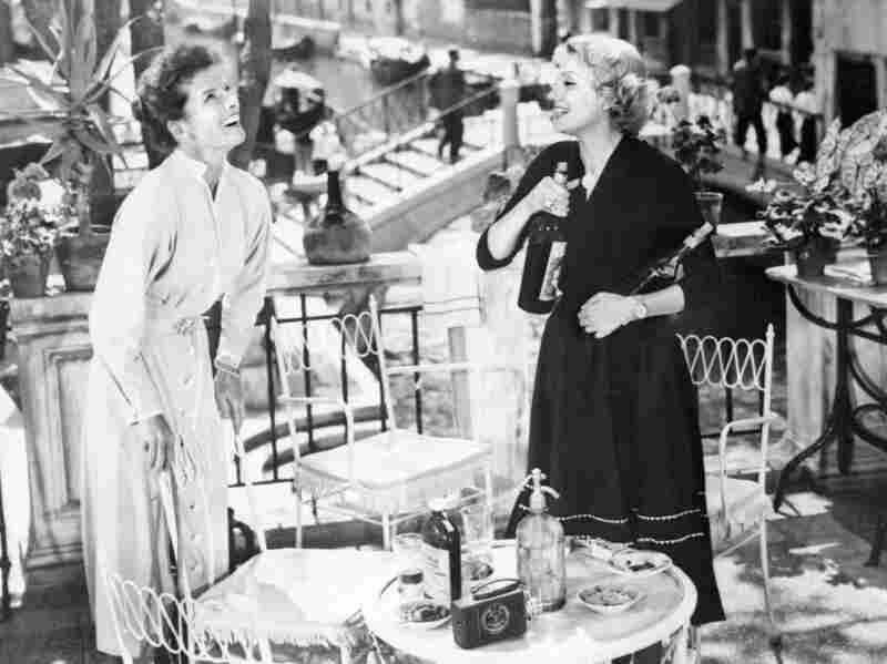 Katharine Hepburn (left) and Isa Miranda in Venice during the production of Summertime.
