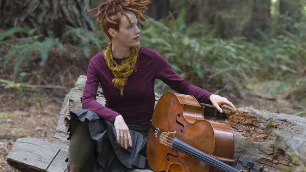 Cellist Zoe Keating in a redwood grove near Occidental, Calif.