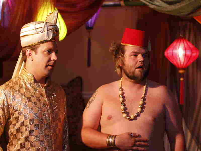Fez-zy Logic: Eric and his best buddy Mike (Tyler Labine, right) convince a core group of old pals that a swinging sex party is the thing that will cap their party-hearty careers. But will it ruin their friendships?