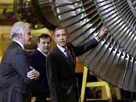 President Obama, joined by General Electric CEO Jeffrey Immelt (left) and plant manager Kevin Sharkey, visits a GE plant in Schenectady, N.Y., in January. Obama has made green jobs a centerpiece of his job-creation program.