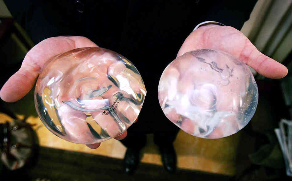 A silicone gel implant (left) and a saline gel implant. The FDA agreed to let implants return to the market in 2006, but stipulated that manufacturers track long-term side effects.