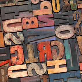 A colorful jumble of letters.