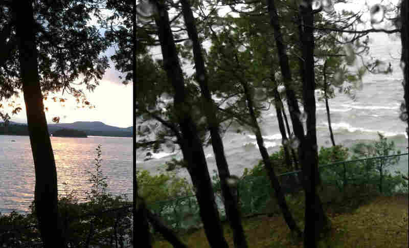 Lake Champlain before and during Hurrican Irene.
