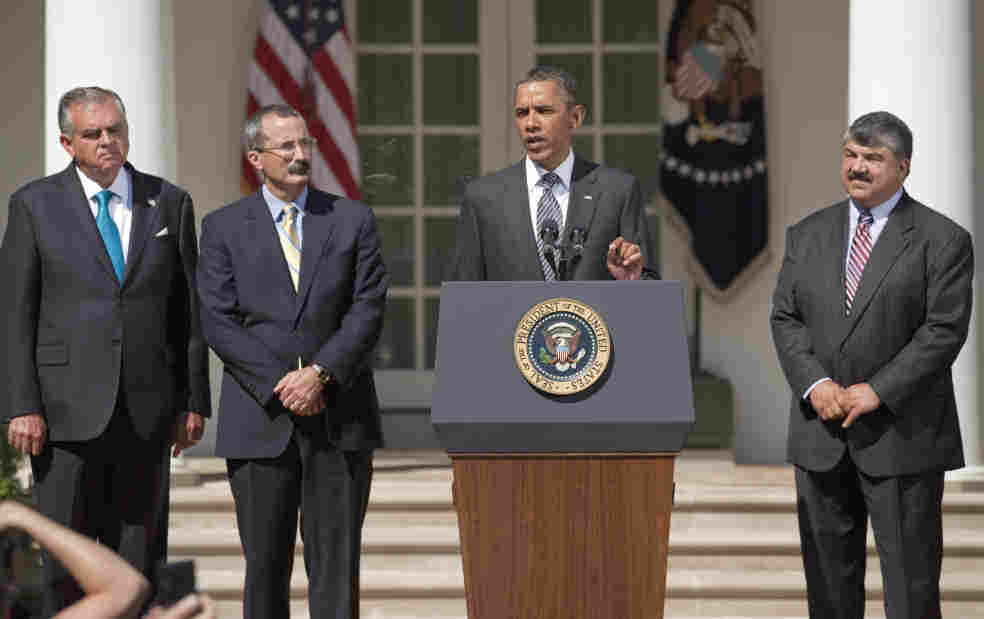 President Obama speaks in the Rose Garden on Wednesday, flanked by U.S. Chamber of Commerce Chief Operating Officer David Chavern (left) and AFL-CIO President Richard Trumka (right). Business groups and unions are just two of the groups Obama will try to please with his jobs plan next week.