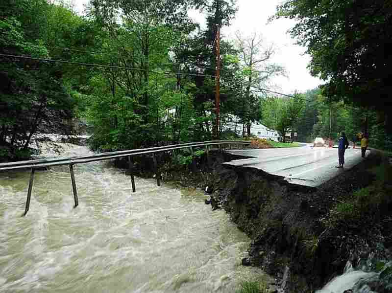 Route 9 was washed out between Brattleboro and Marlboro, VT.