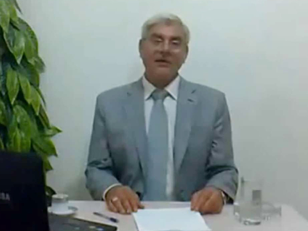 A screen grab of Syrian Attorney General Anan Bakkor, during a video he made where he resigned from his post and revealed that he was forced to cover up deaths related to the popular uprising in the country.
