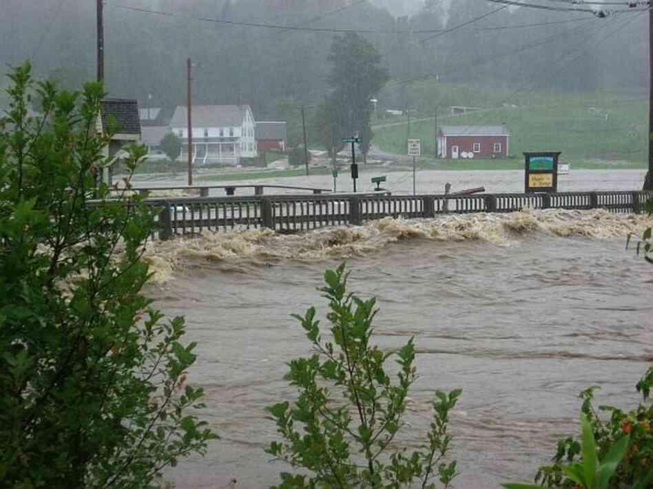 A cresting river in Wilmington, VT.