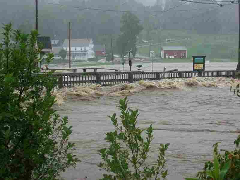 A cresting river in Wilmington, VT.