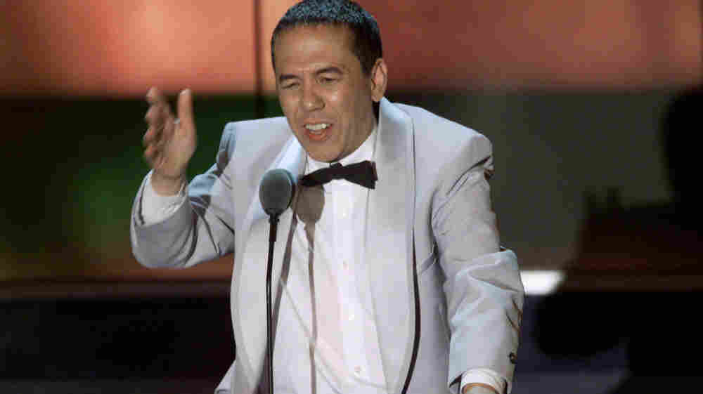 """Gilbert Gottfried, seen here roasting Hugh Hefner in late September 2001, has gotten in substantial hot water more than once over jokes he made that others considered """"too soon."""""""