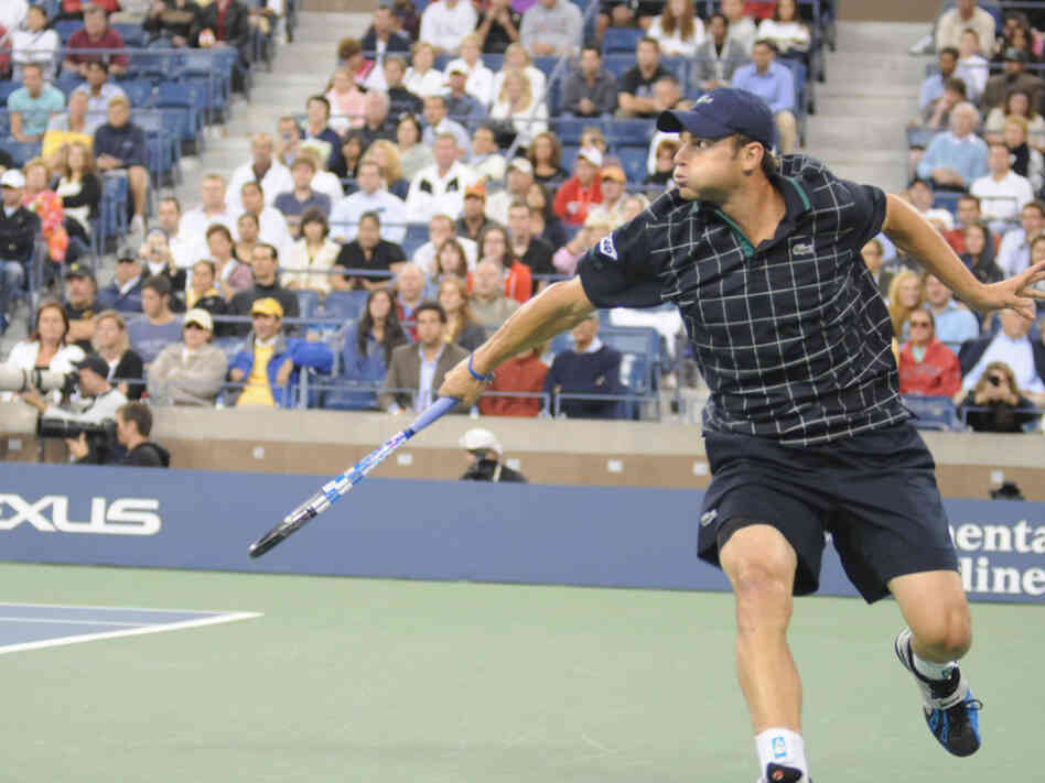 Andy Roddick races across the court to return a volley at the 2009 U.S. Open. Roddick was the last U.S. Open men's singles champion from America — which was in 2003