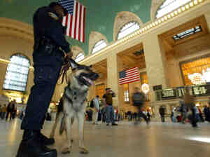 "A K-9 police officer and his partner, ""Bart,"" patrol New York's Grand Central Terminal in 2003. Less visible are the clandestine security measures the government has implemented since 2001."