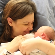 Barrie Hardymon with her newborn son, Hank, in March.