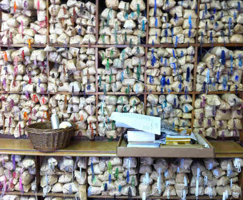Beads of every imaginable color are organized in a rainbow of packets on the walls of the Lesage studio. Click here to see them up close.