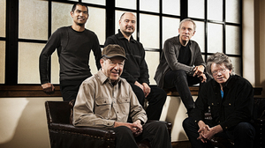 Composer Steve Reich (seated left) and the Kronos Quartet.