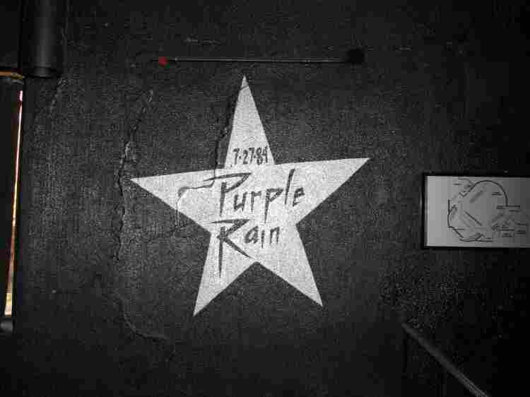 A star commemorating the filming of Purple Rain painted on the wall inside First Avenue.