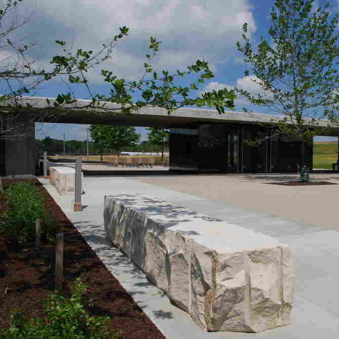 Arrival forecourt and gateway to the memorial plaza at the site of the United Flight 93 memorial in Shanksville, Pa. The memorial is being formally dedicated on Sept. 10, 2011.