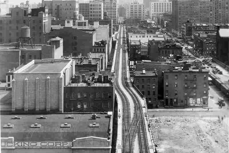 The elevated High Line (seen here in 1953) opened in 1934 in response to public debate about the hazards of street-level freight train traffic.