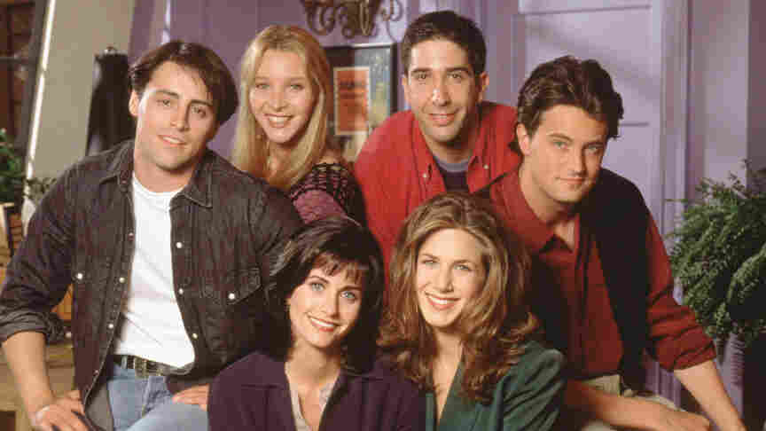 Matt LeBlanc, Lisa Kudrow, David Schwimmer, Matthew Perry, Courteney Cox, and Jennifer Aniston, of Friends, in a first-season cast photo. But you probably knew that.