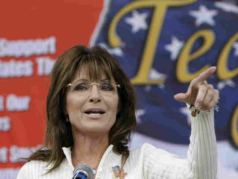Former Alaska Gov. Sarah Palin speaks to Tea Party members during the Restoring America event on Saturday in Indianola, Iowa.