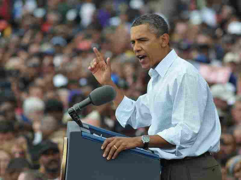President Obama speaks during Labor Day celebrations Monday outside General Motors' headquarters in Detroit.