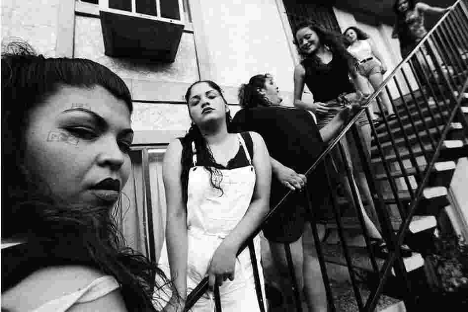 "BooBoo (left) and her ""homegirls,"" Highland Park, 1997"
