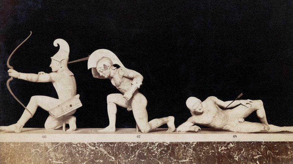 Greek sculptures dating from c. 500 BC, depicting a scene from the Trojan War. The Iliad, about the same war, was one of John Corigliano's inspirations for his piece 'One Sweet Morning.' (Getty Images)