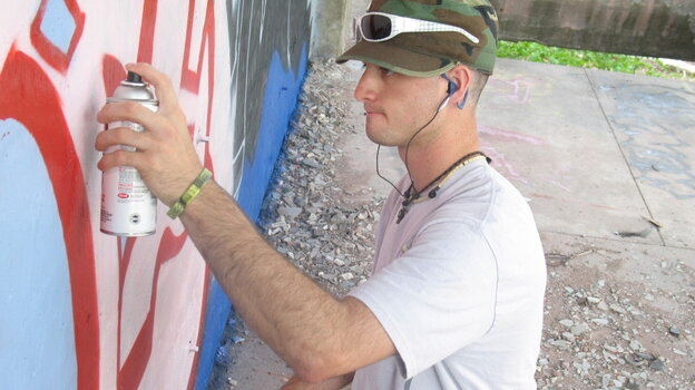 """Art's Sake: Dominic """"Dom"""" Fredianelli is the linchpin of a group of young Michigan men who go off to war — and return home bearing its scars — in Where Soldiers Come From. An art student at Finlandia University, Fredianelli channeled his experiences into a massive mural in his hometown."""