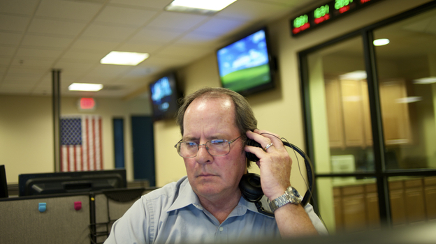 At a fusion center in Las Vegas workers like Daniel Burns, a program coordinator, analyze suspicious activity reports. (Center for Investigative Reporting)